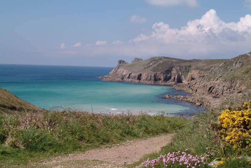 Nanjizel Cove, a stunning cliff walk just 8 miles away.