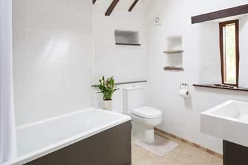 Sparkling family bathroom.