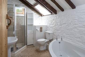 Family bathroom with a super corner bath.