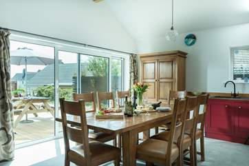 The dining-area by the patio doors.