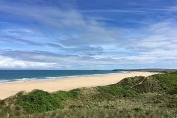 The sandy beaches at Gwithian Towans stretch for three and a half miles.