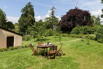 The cottage has a huge enclosed garden that is not overlooked, with a pretty view down into the village.