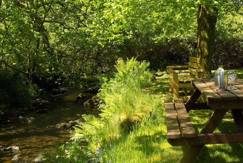 Picnic in your own private garden and watch the babbling brook flow by, simply heaven