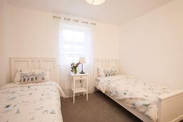 The beautiful twin bedroom is located on the ground floor, a sweet room for the children