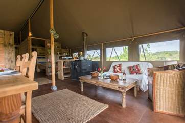 The African-inspired theme runs through the tent.