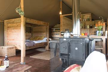 Looking from the sitting-area to the cabin bed and kitchen.