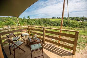 There are lovely countryside views from the deck.
