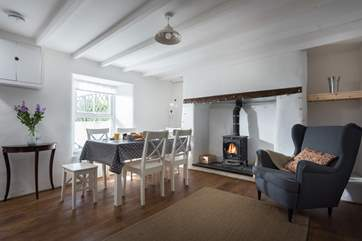 The dining-room also has a wood-burner so plan long leisurely meals in the comfort of its warmth.
