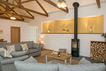 Although with under-floor heating throughout, you cannot beat snuggling up in front of the wood-burner on chillier evenings - and the generous owners provide this amount of wood for your stay!