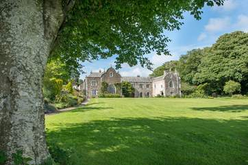 The majestic 17th Century manor of Trewan Hall  takes centre stage on the estate.
