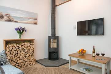 The Coach House has under-floor heating throughout and a gorgeous woodburner making it even cosier for those out of season breaks- the generous owners provide this amount of wood for your stay.