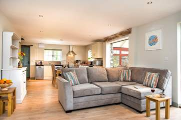Lee Cottage has a lovely spacious open plan living-room.