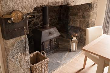 There is a warming wood-burner in the fabulous stone inglenook fireplace, with unlimited wood you can keep cosy in the cooler months.