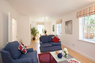 There is soft seating for four in the sitting-room, plenty of space and comfort to put your feet up after an exciting day on the Isle of Wight