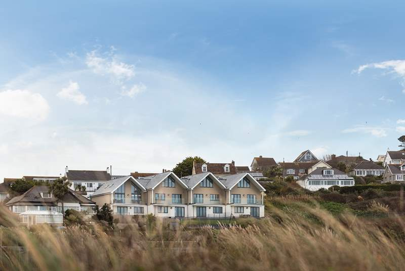 A view of the apartments from the dunes.