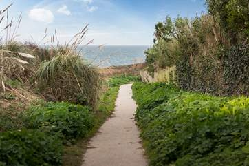 Follow the path down to the beach.