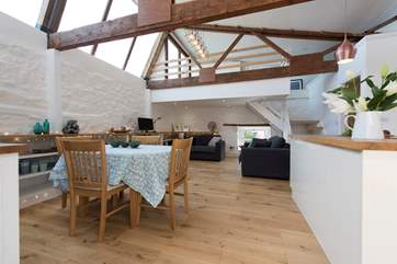 The living area, and above this is the sitting-area is the mezzanine bedroom housing a single bed (please take care with small children).