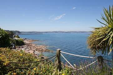 Spectacular views looking back over to Torbay from the terrace area of a local eatery,
