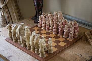 This amazing board awaits the chess players of the party.