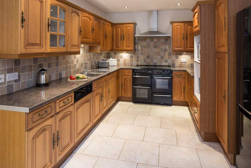 Spacious and well-equipped kitchen.