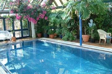 Delightful shared heated indoor swimming pool.