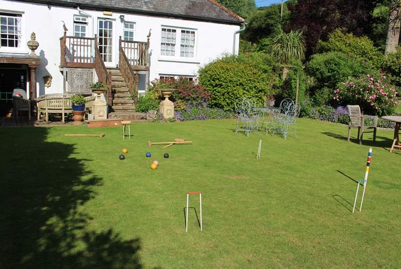 Or perhaps indulge in a relaxing game of croquet on this lovingly maintained lawn.