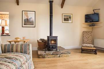 The toasty wood-burner keeps the cottage nice and warm whatever the weather.
