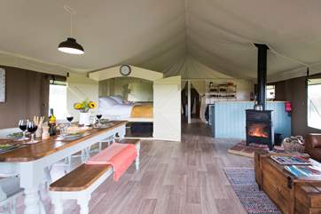 The wood-fired range keeps you toasty in the cooler months (there is the luxury of partial central heating too!) and also doubles up as a cooking appliance.