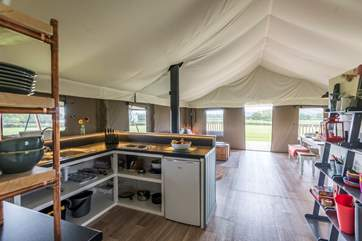 The lovely countryside views can be enjoyed whilst cooking at the hob.