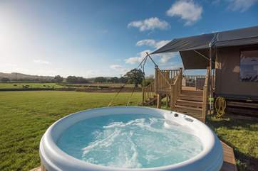 This is the view from the hot tub! Each hot tub is carefully sheltered from its neighbour.