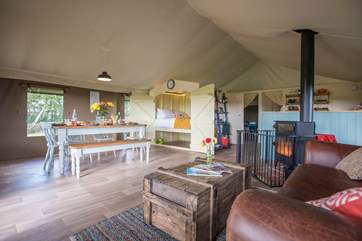 The wood-fired range will keep you toasty in the cooler months (there's partial central heating too!) and doubles up as a cooking appliance.