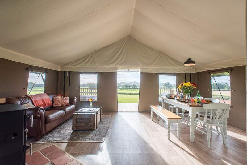 The spacious open plan living area in this super-size safari tent.