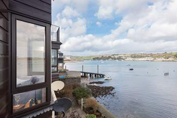 Looking upriver towards Penryn from the balcony outside the sitting-room.