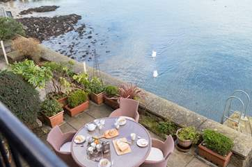 Looking down to the waterside terrace.
