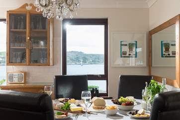 The dining area shares the views.