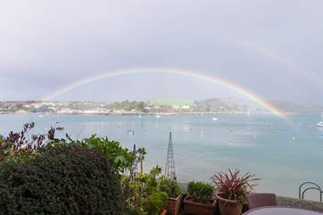 You might be lucky enough to see such an amazing rainbow across the bay!