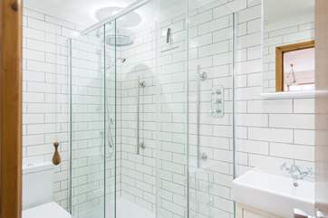 Another big shower cubicle with drench-head shower.