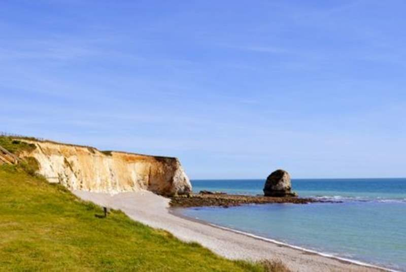 Freshwater Bay is one of the most picturesque beaches on the Isle of Wight, and you are just seconds away.