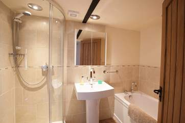 The family bathroom with both bath and shower cubicle