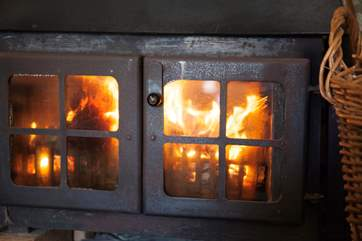Keep warm in front of the log burner