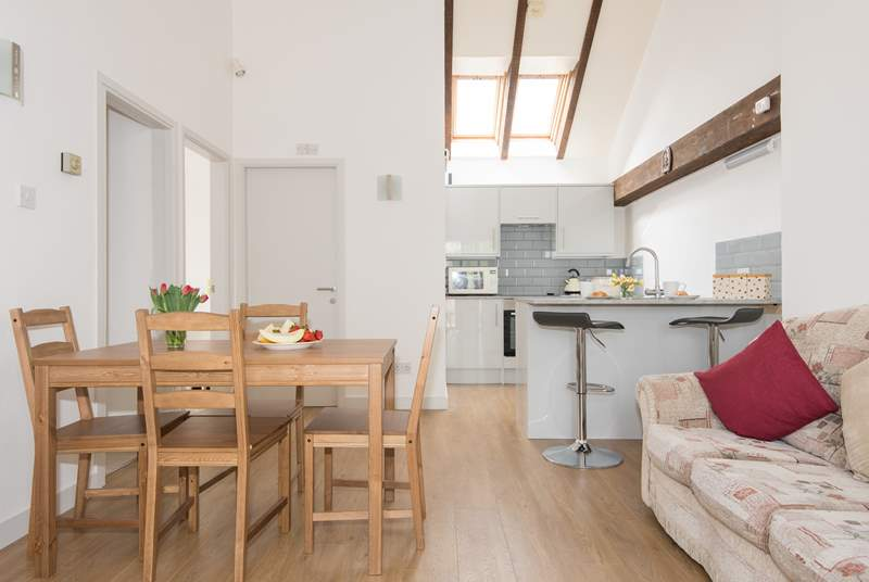 The open plan living area is light and airy