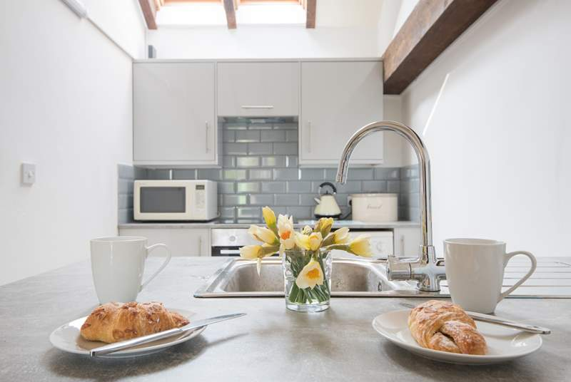 The breakfast bar is perfect for two guests