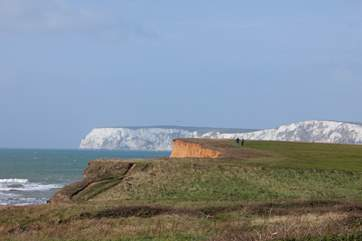 Take a walk towards Freshwater Bay with views that will take your breath away.
