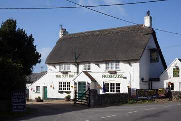 Just a five minute drive away in the delightful pub The sun, which serves local alles and delicious food