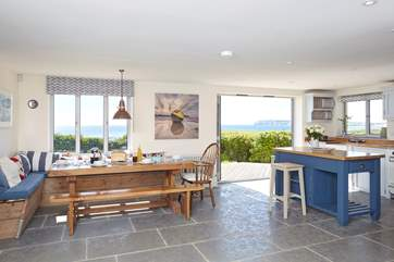 A lovely large space to entertain in, with the light flooding in and stunning views of the white cliffs of Freshwater.