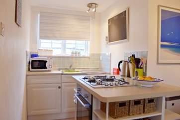 Modern, galley-style kitchen