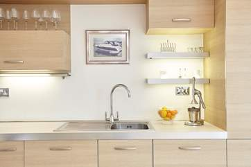 The stylish and contemporary kitchen.