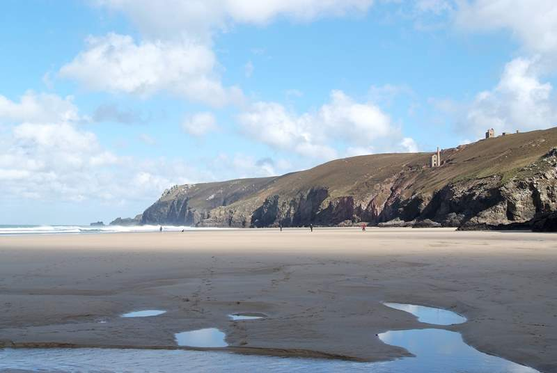 Chapel Porth at low tide; a great surfing beach with a renowned National Trust beach cafe.