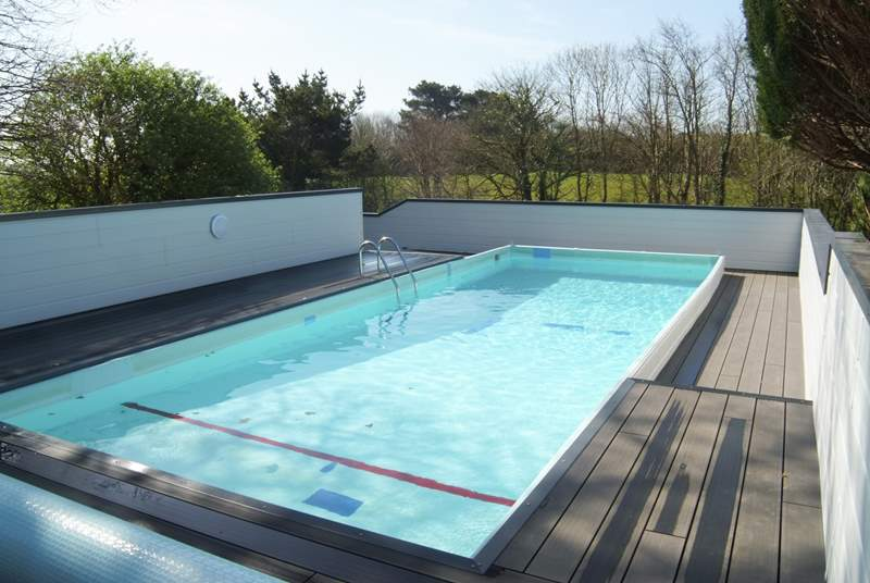 The swimming pool is sheltered by fencing.