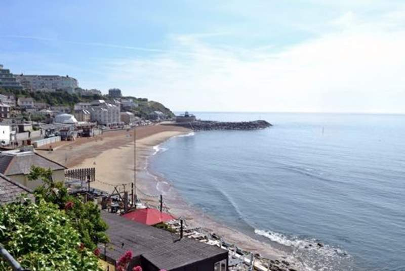 Ventnor beach is an ideal place for sunbathing and family swimming